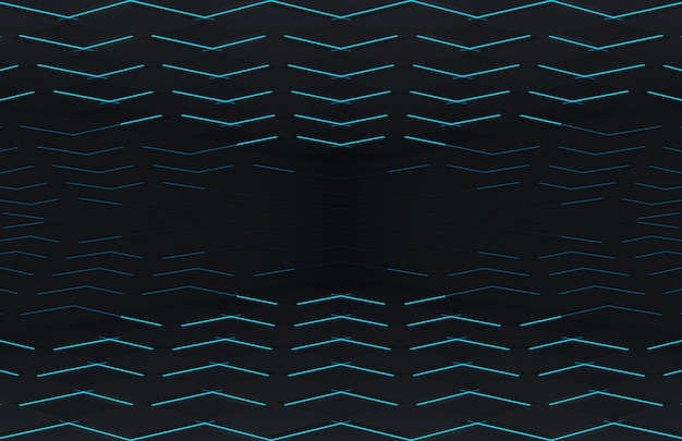 Moderna griglia futuristica quadrata nera con parete a luce blu