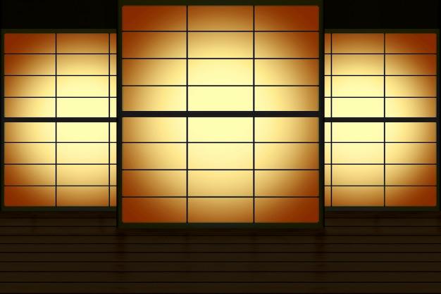 Moderna porta scorrevole in carta in stile giapponese con gradiente a lume di candela sullo sfondo della parete.