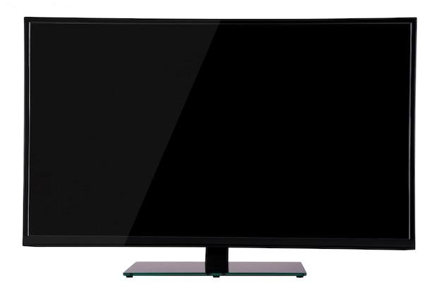Moderna tv al plasma sottile su supporto in vetro nero isolato