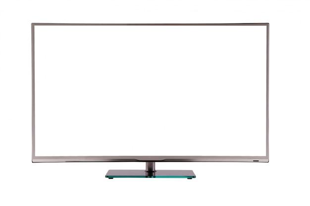 Moderna tv lcd al plasma sottile su un supporto in vetro nero argento isolato