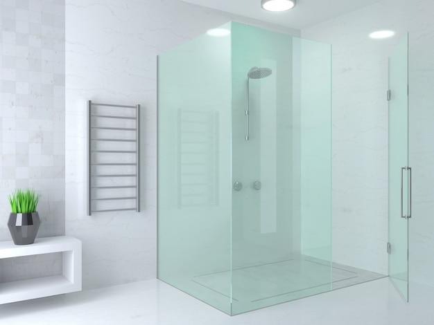 Moderno bagno con doccia in vetro luminoso