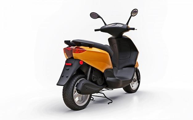 Moderno ciclomotore arancione urbano