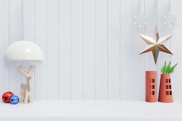 Moderno con sfondo di natale con stella, cervi e lampada per rami sul retro bianco in legno