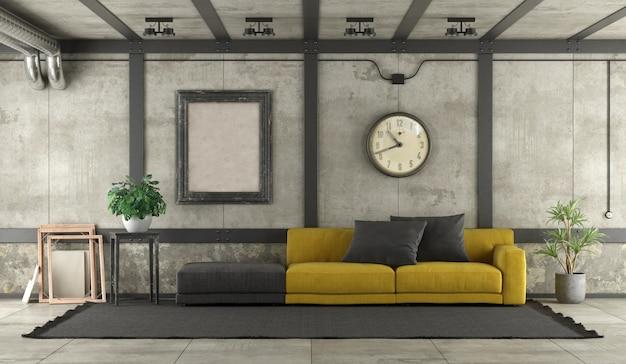 Moderno divano giallo e nero in un soppalco