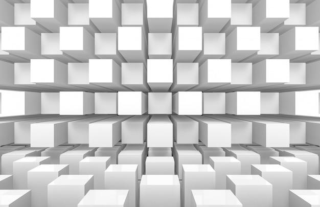 Moderno futuristico quadrato bianco quadrato scatole cubo pila muro e pavimento