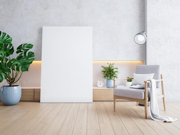 Moderno loft interno di soggiorno, poltrone in legno con cornice