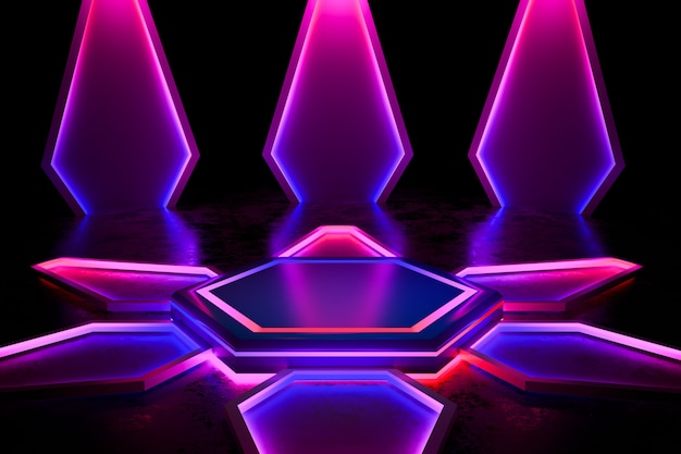Moderno palcoscenico vuoto con luce al neon