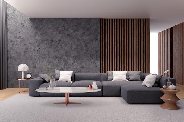 Moderno salotto di lusso interno, divano nero con muro di cemento scuro