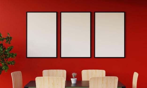 Moderno salotto rosso con divano e mobili e gruppo di cornice sul muro. rendering 3d.