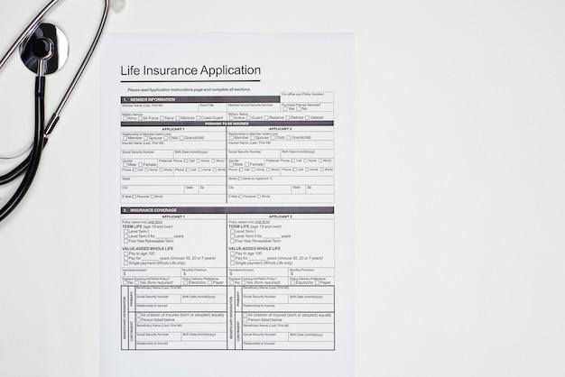 Modulo di domanda di assicurazione sulla vita