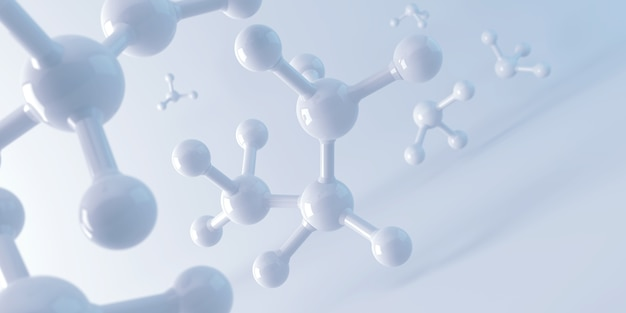 Molecola bianca o atomo, struttura astratta pulita per scienza o sfondo medico