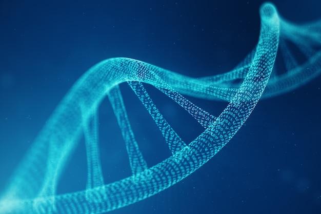 Molecola di dna di intelligenza artificiale. il dna viene convertito in un codice binario. genoma del codice binario di concetto. scienza astratta della tecnologia, concetto di dna artificiale. illustrazione 3d