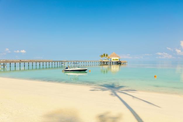 Molo di legno con piccola stazione sul mare posto sul mare blu tropicale, spiaggia sabbiosa e ombra della palma