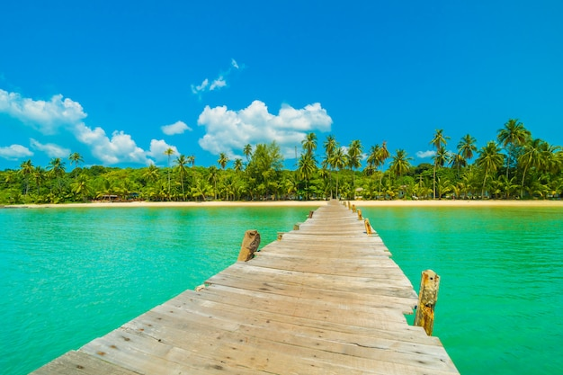 Molo di legno o ponte con spiaggia tropicale