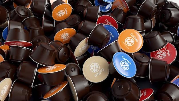 Molte capsule di caffè usate. problema dei rifiuti.