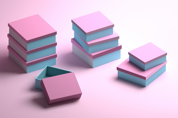 Molte confezioni impilate in blu e rosa
