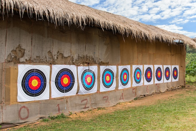 Molte freccette sul muro nel parco divertimenti