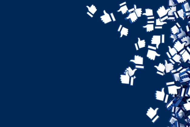 Molte icone che cadono su sfondo blu