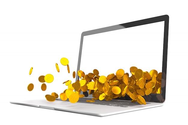 Molte monete d'oro si rovesciano dal monitor del laptop