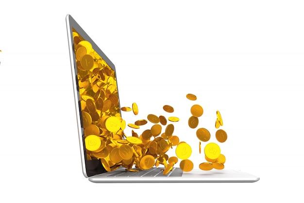 Molte monete si rovesciano dal computer portatile. illustrazione 3d