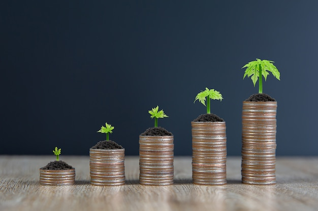 Molte monete sono impilate a forma di grafico con albero in crescita per i concetti di pianificazione finanziaria.