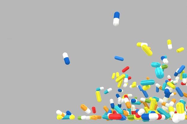 Molte pillole colorate che si sbriciolano e cadono. isolato. rendering 3d