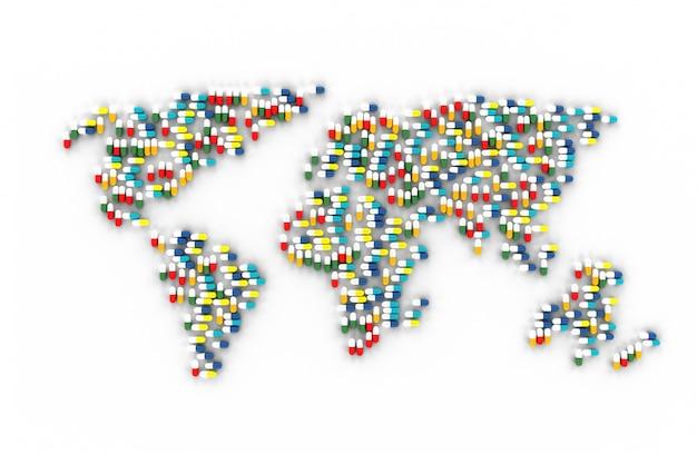 Molte pillole sparse sul tavolo sotto forma di mappe mondo