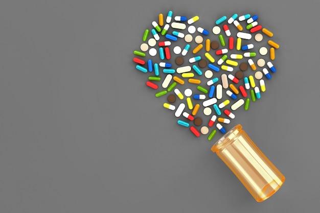 Molte pillole sparse sulla superficie sotto forma di cuori. illustrazione 3d