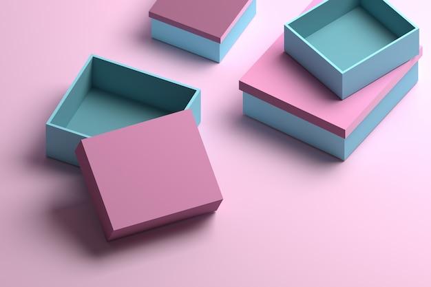 Molte scatole per imballaggio in blu e rosa