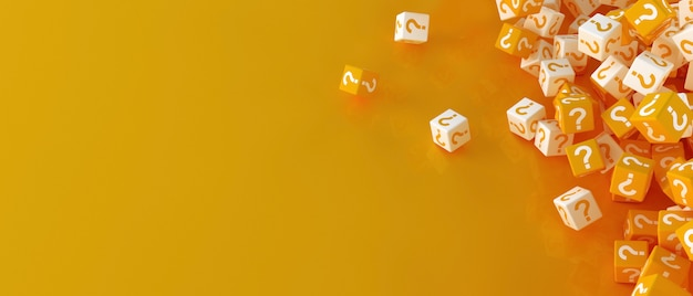 Molti blocchi che cadono con punti interrogativi. illustrazione 3d