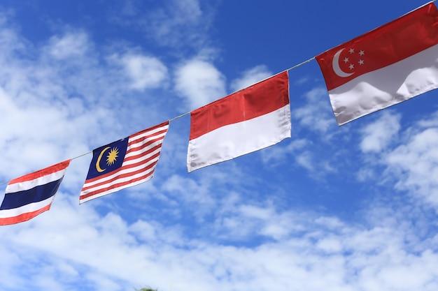 Molti colori della bandiera dell'asean splendidamente foderato