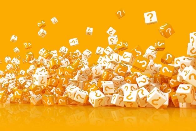 Molti cubi sparsi con l'illustrazione di punti interrogativi 3d