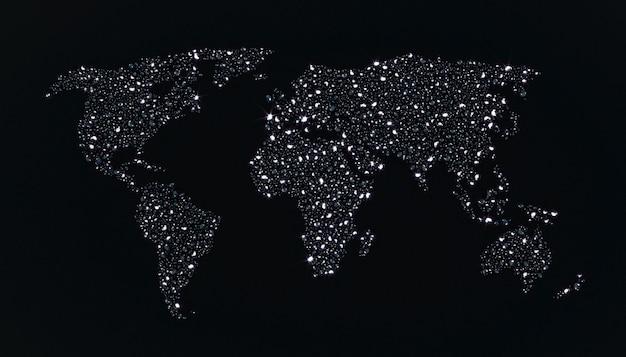 Molti diamanti sparsi su uno sfondo nero sotto forma di una mappa del mondo