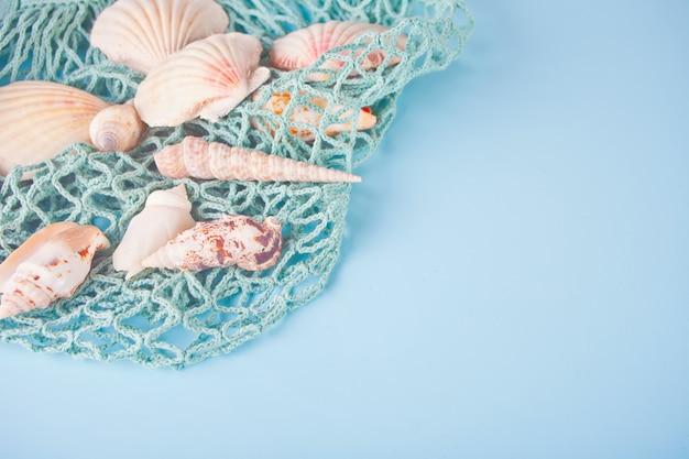 Molti diversi seashells e rete da pesca. vista dall'alto. copyspace.