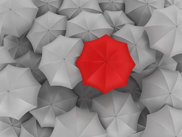 Molti ombrelli con uno diverso