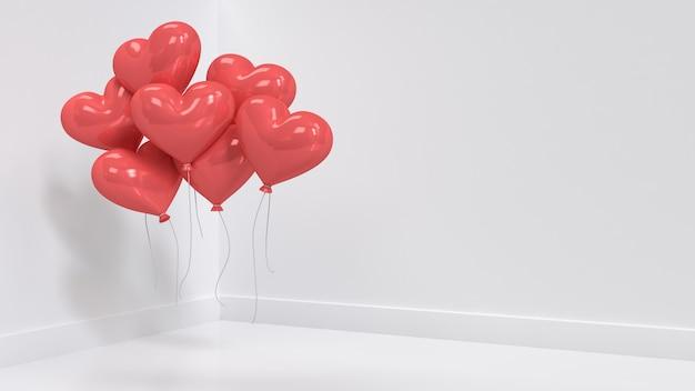 Molti palloncini cuore rosso galleggianti in camera bianca rendering 3d