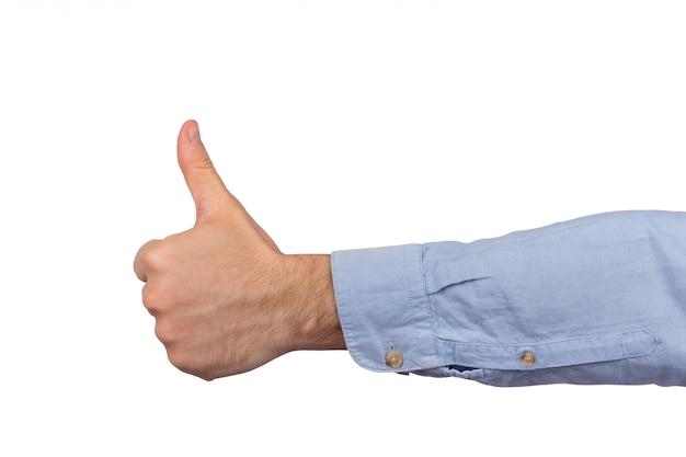 Molto bene. pollice in alto segno. hand like. vicino isolato su spazio bianco
