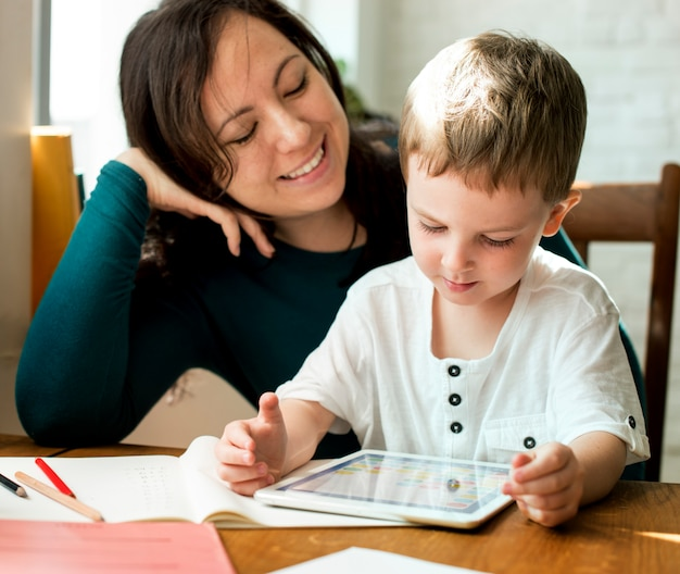 Mom son spend time holiday together