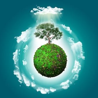 Mondo verde con uno sfondo albero