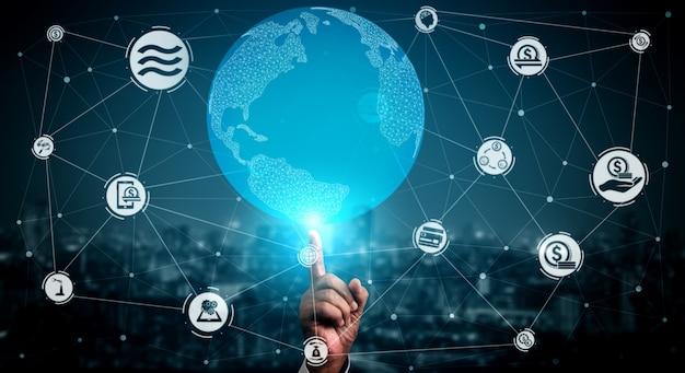 Moneta di criptovaluta della bilancia nel fondo di economia dei soldi di digital