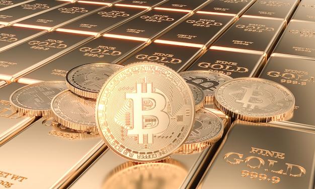 Monete con simbolo bitcoin su lingotti d'oro. immagine 3d render.