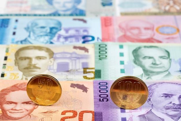 Monete costaricane sullo sfondo del denaro