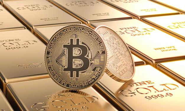 Monete d'oro bitcoin posate su lingotti. concetto di criptovaluta e denaro.