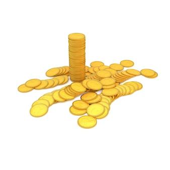 Monete d'oro su uno sfondo bianco. l'illustrazione 3d, rende.
