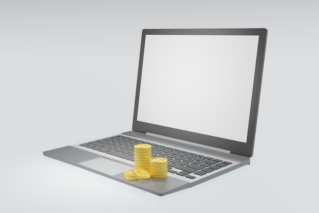 Monete e computer portatile del dollaro dell'oro con lo schermo bianco in bianco isolato