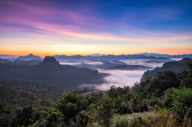 Montagna della foschia di punto di vista variopinta all'alba