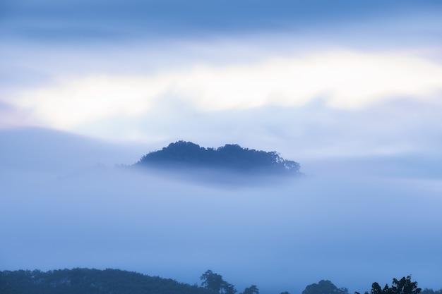 Montagna di picco nella nebbia blu