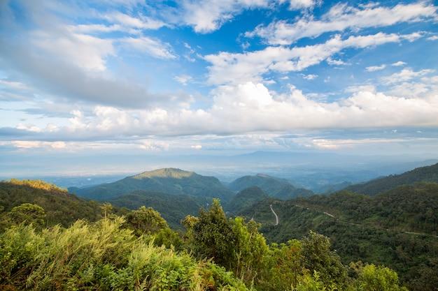 Montagna e cielo blu della foresta