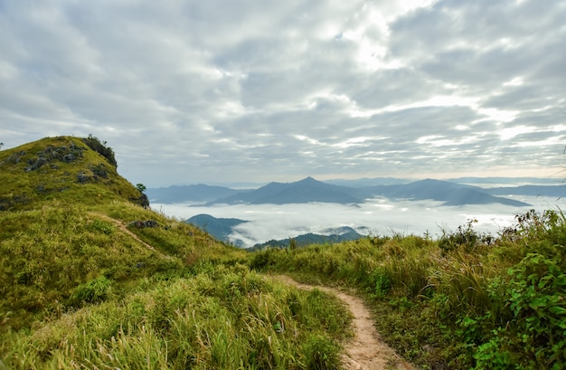 Montagna e sentiero, nebbia e cielo nuvoloso