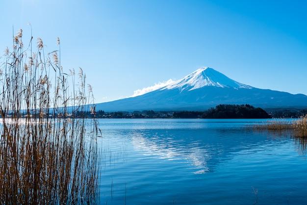 Montagna fuji con lago kawaguchiko e cielo blu